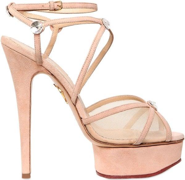 "Charlotte Olympia ""Isadora"" Platform Sandals in Blush Suede"
