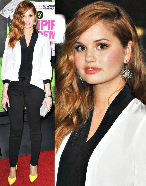 Debby Ryanin a color-blocked charmeuse from Kate Spade New York