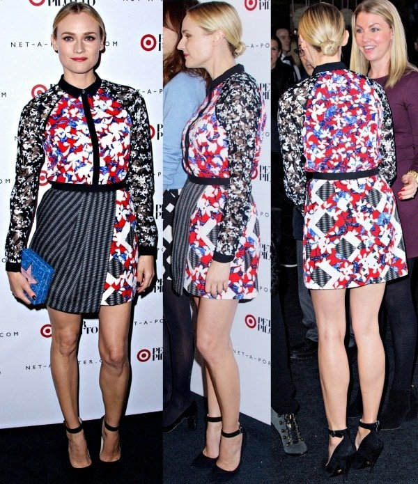 Diane Kruger'sasymmetrical skirt featuring gray stripes, a check pattern, floral prints, and asolid black contrast waistband