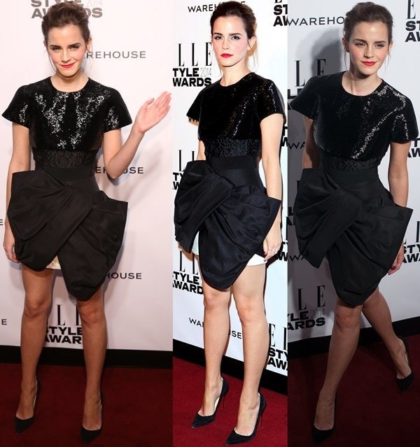 Emma Watson sashayed down the red carpet in a striking Spring 2014 Couture dress from Giambattista Valli
