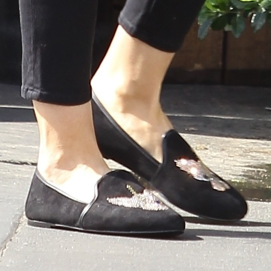 A closer look at Heidi's crystal-detailed loafers