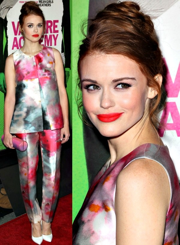 Holland Rodenin a watercolor sleeveless top and matching pants
