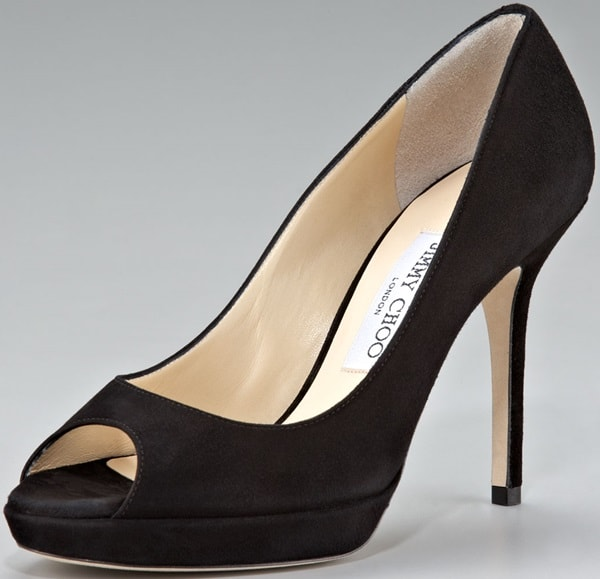"Jimmy Choo ""Luna"" Platform Pumps in Black Suede"