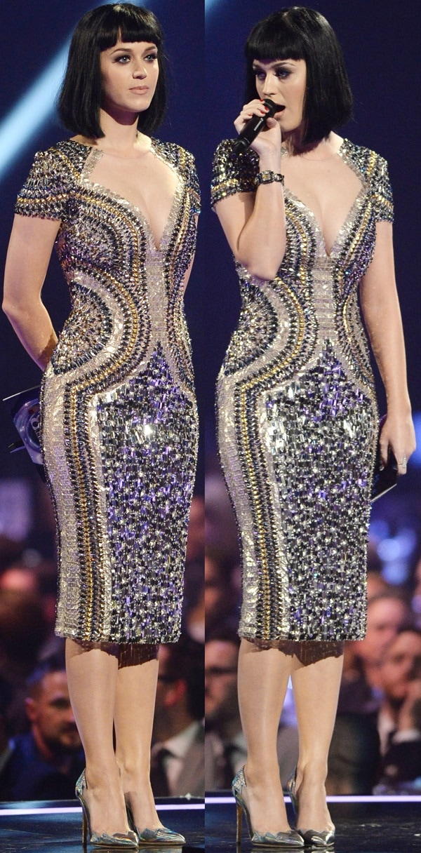 Katy Perryin a bedazzled dress at the Brit Awards