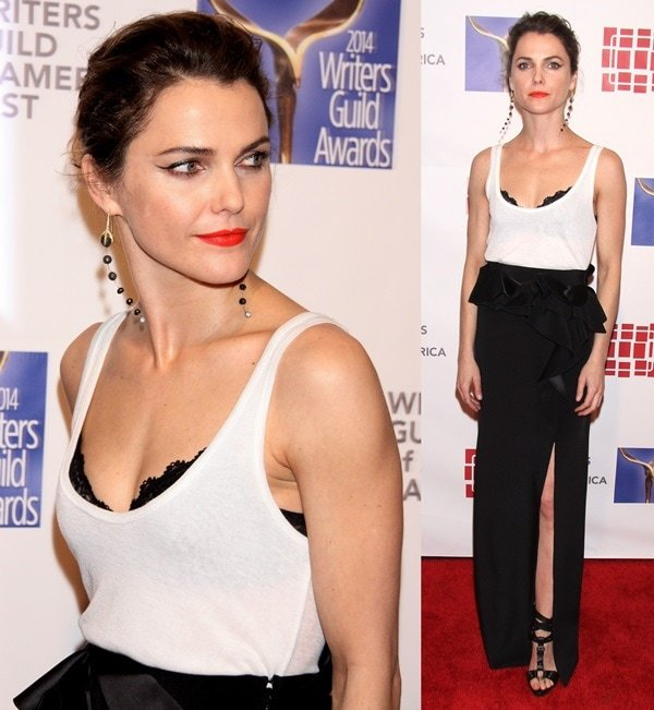 Keri Russell'sGivenchy maxi skirt featuring a thigh-high slit gave us a peek at her amazing Giuseppe Zanotti sandals