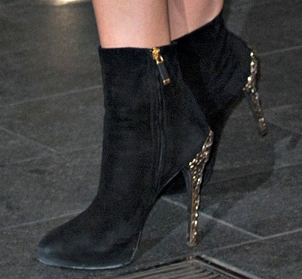 Kimberley Garner wearing embellished-heel ankle boots