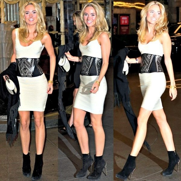 Kimberley Garner emphasized her tiny waist with a fabulous black belt with laser-cut designs from the same designer