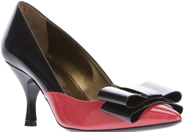 Lanvin Bow Pumps in Black-and-Pink Leather