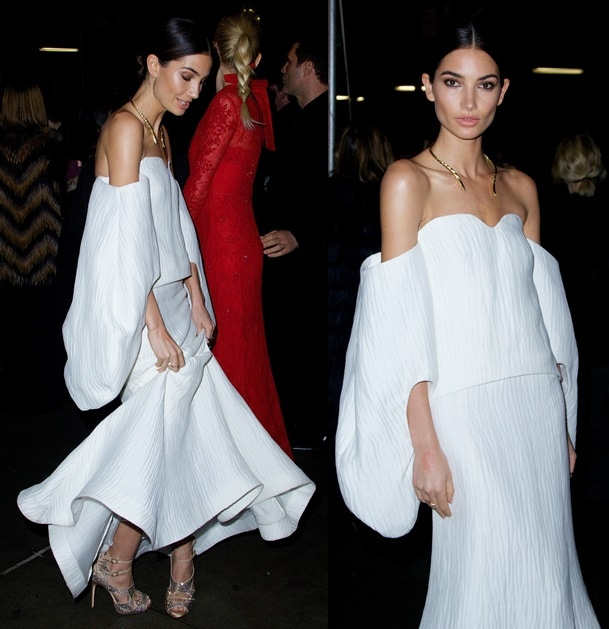 Lily Aldridge at the amfAR New York Gala at Cipriani Wall Street in New York City on February 5, 2014