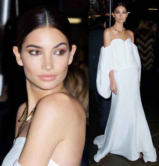Lily stole the show last night when she sashayed into the arrival area in a white off-shoulder gown detailed with capelike sleeves and a fluted yet flowy skirt that simply begged attention