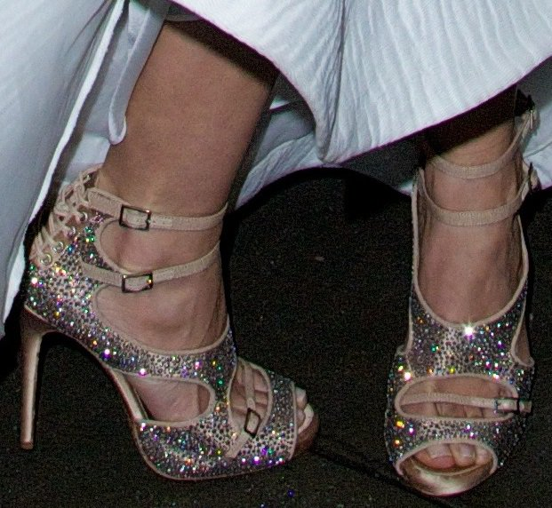 A closer look at Lily Aldridge's crystallized sandals from Tabitha Simmons