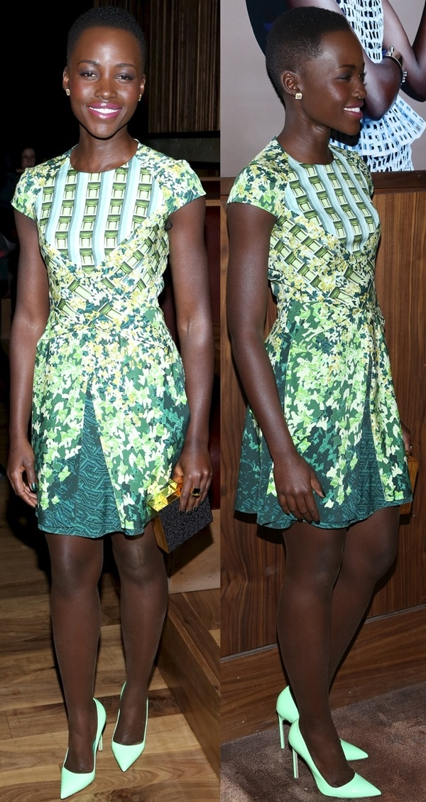 Lupita showed off her love for bold colors and prints once again as she stepped out in a gorgeous ivy silk blend frock in different shades of green from Peter Pilotto's Resort 2014 collection
