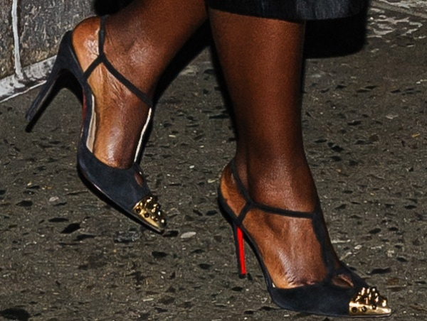 Lupita Nyong'o leaving 'The Late Show with David Letterman' in slingback pumps from Christian Louboutin