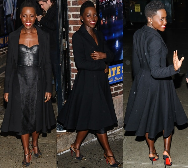 Lupita Nyong'o wore a strapless dress with a leather basque from J. Mendel