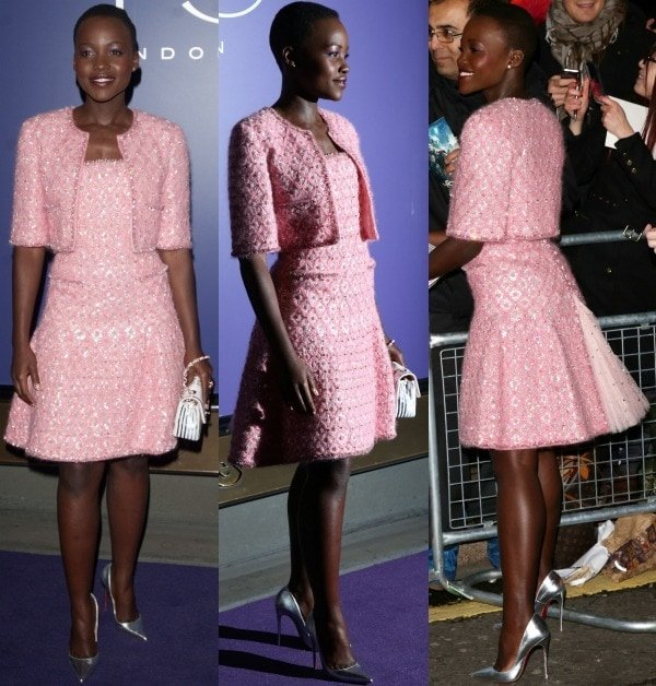 Lupita Nyong'o showed off her excellent taste and impeccable style at the pre-BAFTA party in a pink tweed frock with a matching cropped jacket from Chanel's Fall 2012 collection
