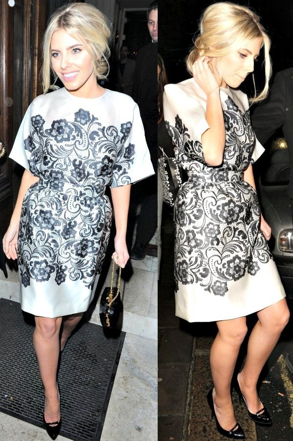 Mollie King in a white Dolce & Gabbana satin dress with black lace print and black Gucci pumps