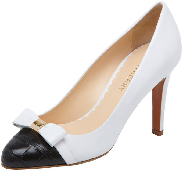 Mulberry Bow Pumps in Black-and-Cream Nappa