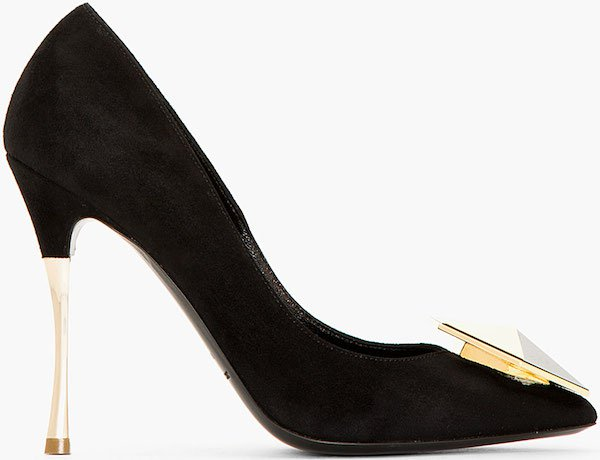 "Nicholas Kirkwood ""Hexagon"" Pumps in Black Suede"