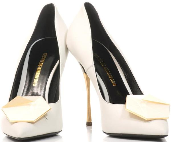 "Nicholas Kirkwood ""Hexagon"" Pumps in White Leather"