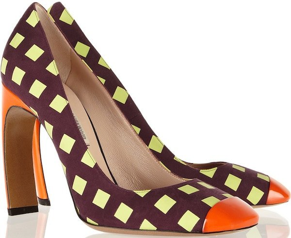 Nicholas Kirkwood Printed Pumps in Plum Suede and Orange Patent Leather