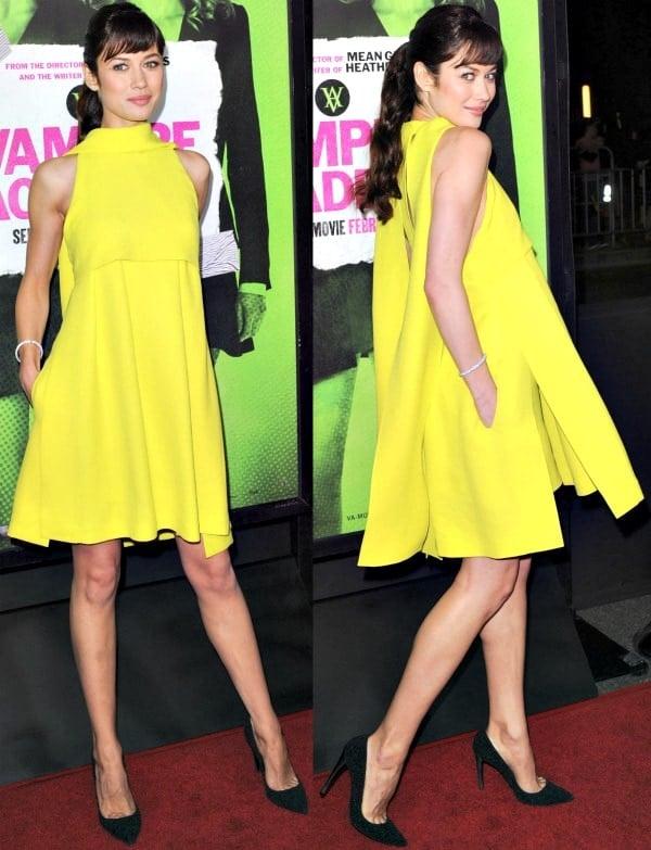 Olga Kurylenko in a lemon yellow layered dress at the premiere of'Vampire Academy'