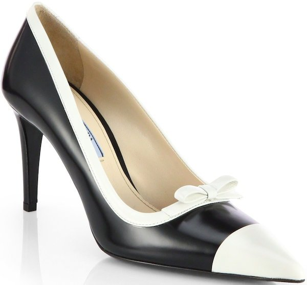 Prada Two-Tone Leather Bow Pumps