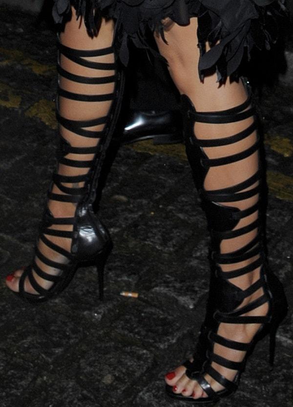 Rita Ora'sknee-high gladiator heels from Giuseppe Zanotti