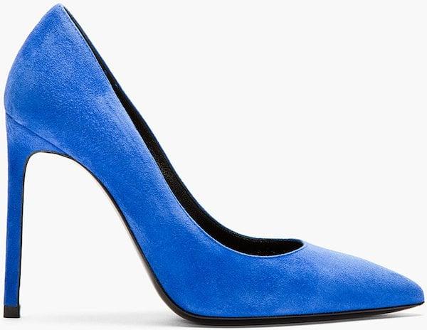 """Saint Laurent """"Paris"""" Pumps in Blue Suede"""