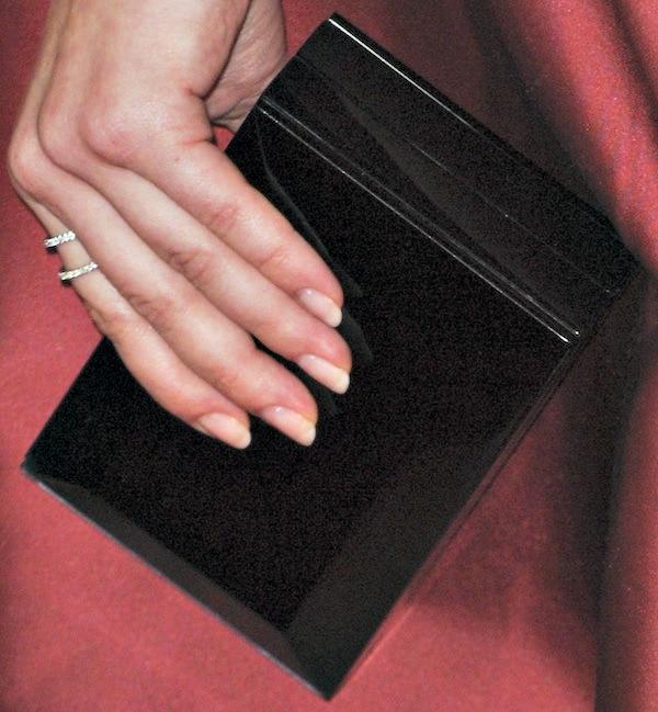 Sarah Hyland'sblack clutch from Rauwolf