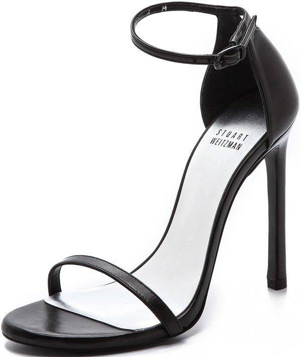 """Stuart Weitzman """"Nudist"""" Sandals in Black"""