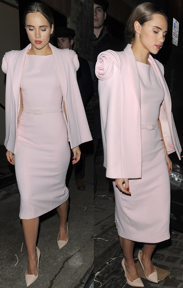 Suki Waterhouse showed effortless grace and sophistication in a lovely pale pink belted dress from Ralph & Russo's Spring 2014 couture collection