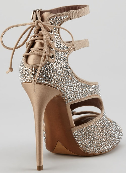 """Tabitha Simmons """"Bailey"""" Crystallized Cutout Lace-Up Sandals"""