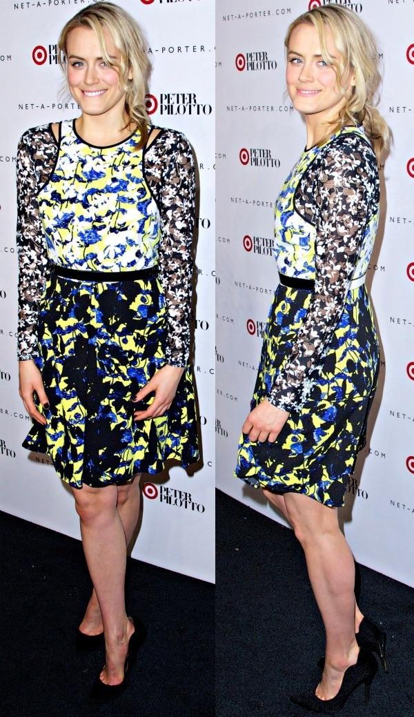 Taylor Schilling'sbelted dress in green floral prints