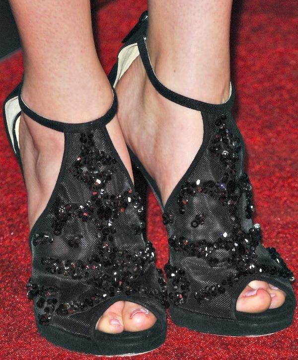 Zoey Deutch's feet inembellished peep-toe sandals from Jimmy Choo