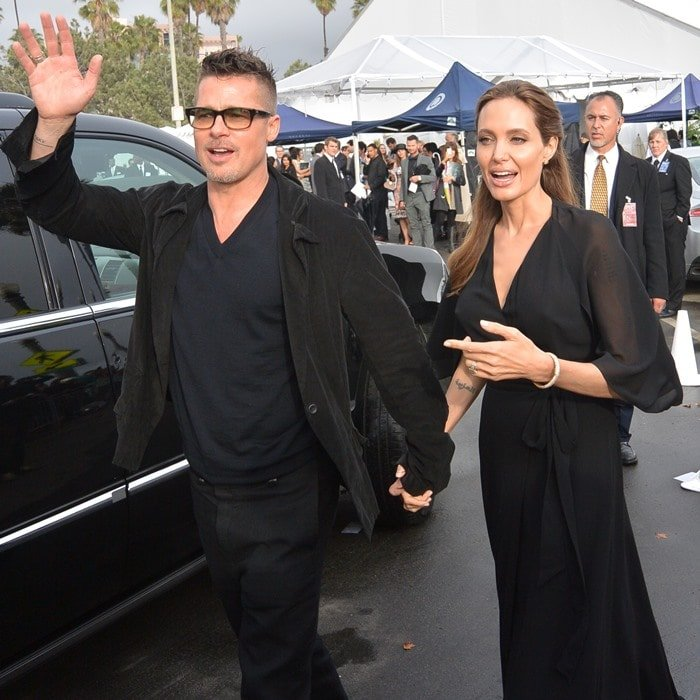 Angelina Jolie leaving the venue of the 2014 Independent Spirit Awards with partner, Brad Pitt, in Santa Monica, California, on March 1, 2014
