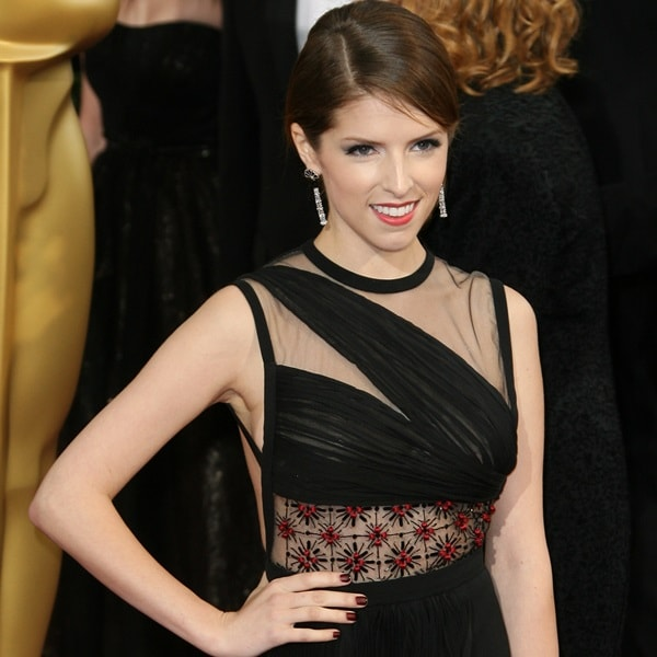 Anna Kendrick's hair was styled in an elegant French twist