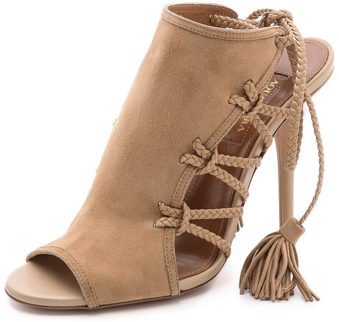 Aquazzura Sahara Suede Braided Rope High-Heel Sandals