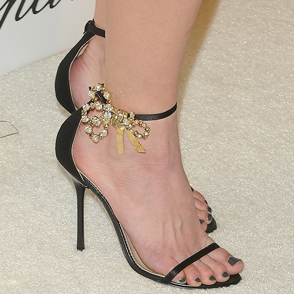 Ashley Greene's feet in DSquared2 crystal-bow sandals