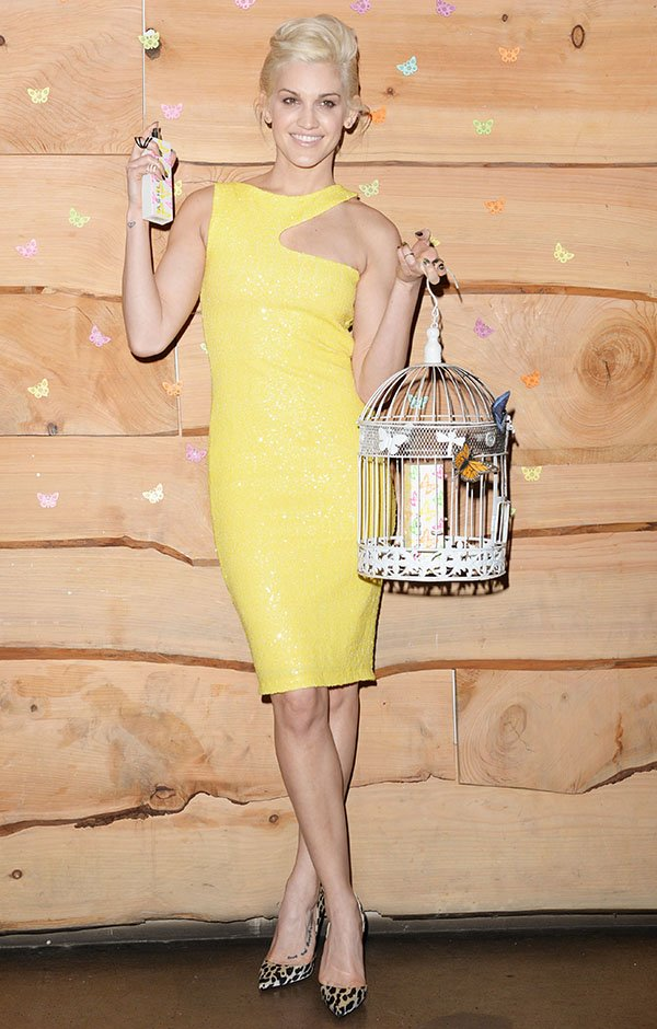 Ashley Roberts looked bright and cheery in a yellow dress by Key Fashion
