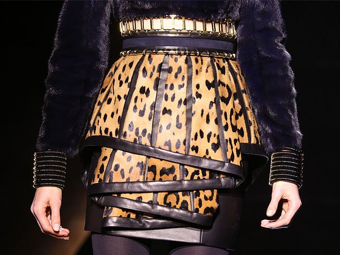 Detail of a folded leopard-printed skirt