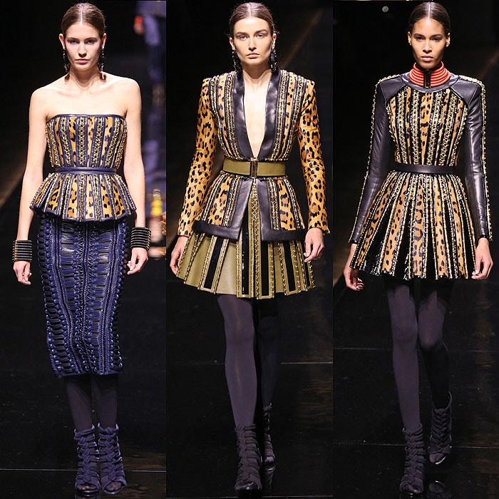 Leopard-printed pieces from the Balmain Fall 2014 collection