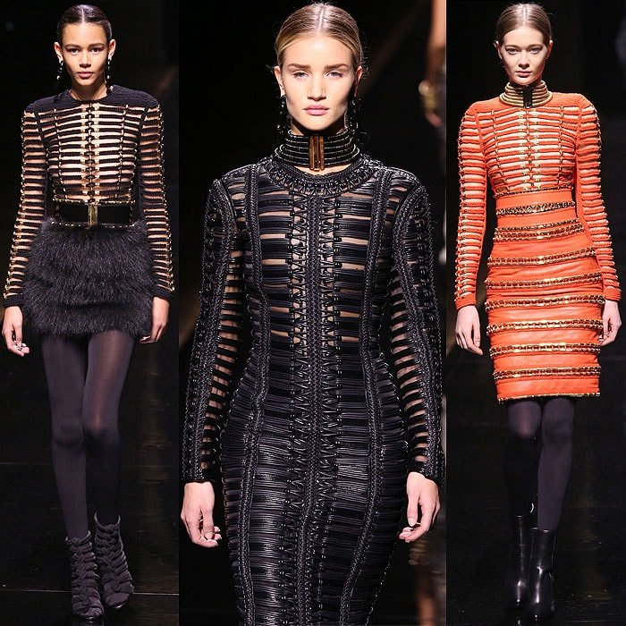 Knotted rope dresses at the Balmain fall 2014 fashion show