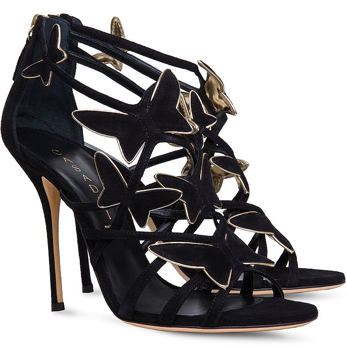 """Casadei """"Evening"""" Butterfly Sandals in Black Suede"""