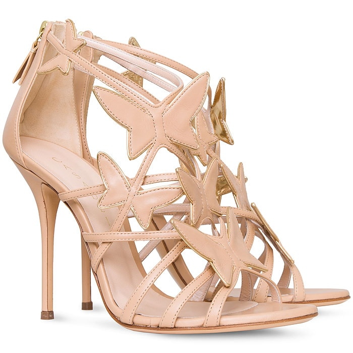 """Casadei """"Evening"""" Butterfly Sandals in Nude Nappa"""