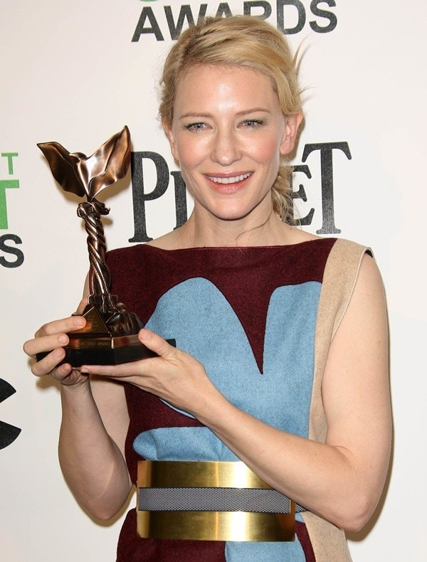 Actress Cate Blanchett accepted the award for Best Female Lead at the 2014 Film Independent Spirit Awards