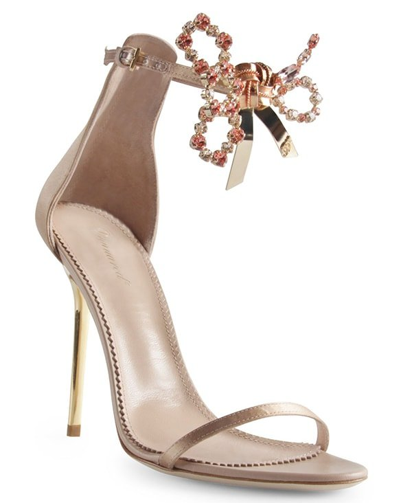 DSquared Crystal Bow Sandals Dove Gray