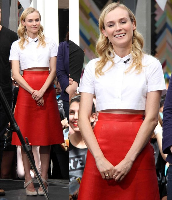 Diane Kruger wearing a collared white cropped blouse