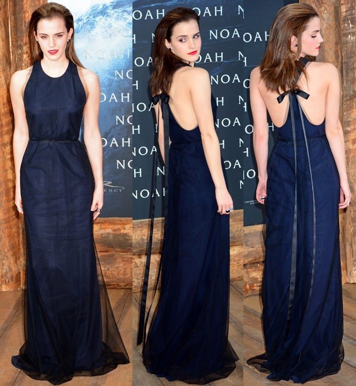 """Emma Watson wears a floor-length Wes Gordon number to the premiere of """"Noah"""""""
