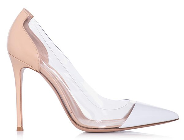 Gianvito Rossi Nude and White Leather and PVC Pumps