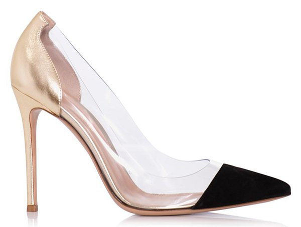 Gianvito Rossi Suede, Gold Leather and PVC Pumps